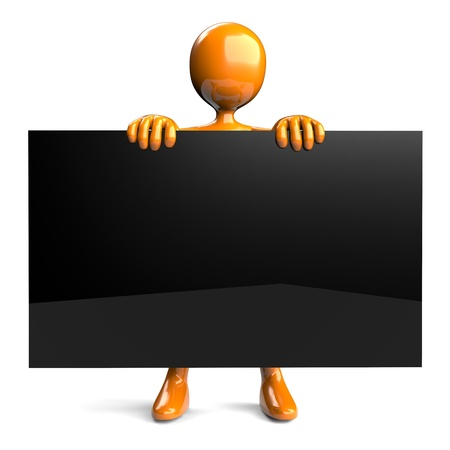 3D figure holding an empty black board