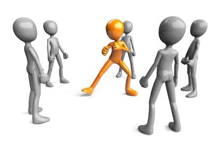 defensa personal: Figura 3D en defensa propia postura rodeado por los atacantes