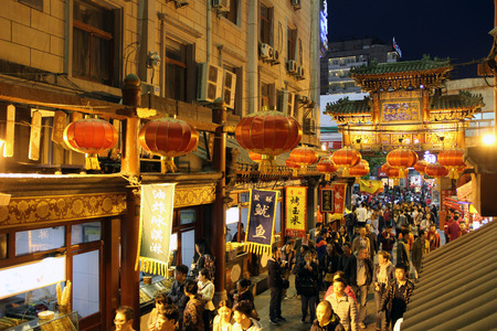 night market: Old Beijing Wangfujing night market food street Editorial