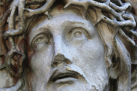 jesus christ crown of thorns: Jesus Christ in a crown of thorns (fragment of statue) Stock Photo