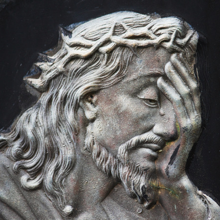 beautiful jesus: detail of sculpture of Jesus Christ Stock Photo