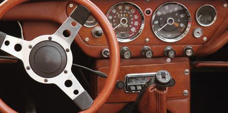 antique cars (control panel, fragment) Archivio Fotografico