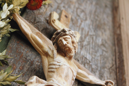 crucified: Holy cross with crucified Jesus Christ  (details) Stock Photo