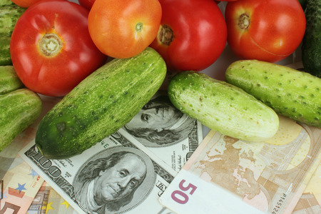 vegetables as a symbol of healthy eating and good business (details)