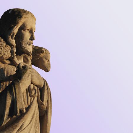 good shepherd: Jesus Christ the Good Shepherd (art composition, details) Stock Photo