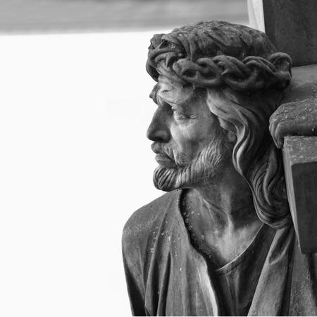 jesus face: detail of sculpture of Jesus Christ Stock Photo