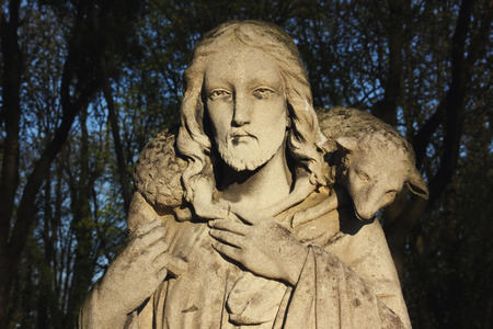 jesus statue: Jesus Christ - the Good Shepherd (art composition, details)