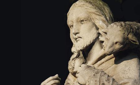 Jesus Christ - the Good Shepherd (old monument, details) Archivio Fotografico