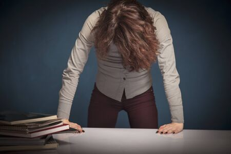 Portrait of very angry and stressed female teacher. Selective focus on hair of woman Archivio Fotografico