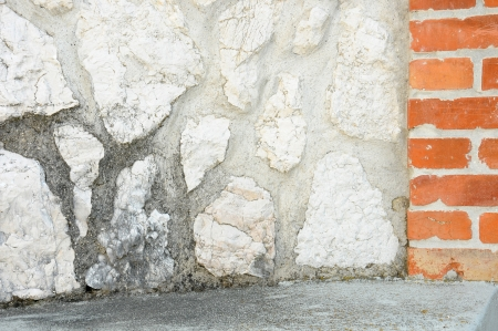 clinker tile: grungy stone and brick wall background Stock Photo
