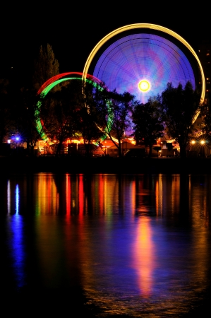 amusement park at night photo