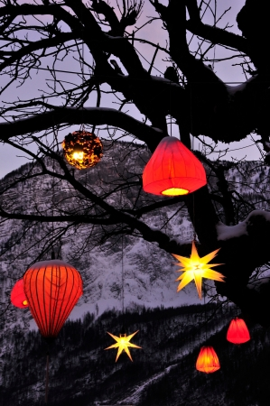 pendular: glowing Chinese lantern hanging down from a tree with mountains in the background Stock Photo
