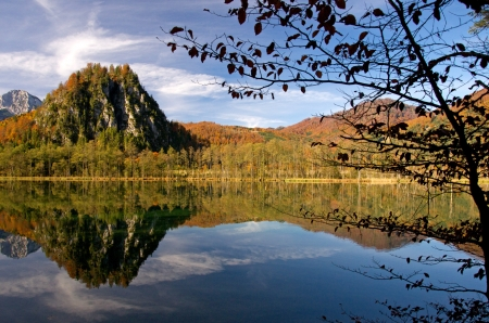 mirroring: mountains and trees mirroring in the lake