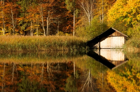 wooden hut: wooden hut surrounded by autumn forest mirroring in the lake Stock Photo