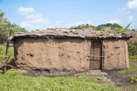 mud hut in the masai village in kenya - national park masai mara photo