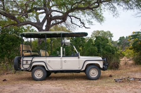safari car parking in the national park selous game reserve in tanzania Stock Photo
