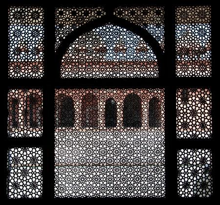 fatehpur: fatehpur sikri seen through a window - india - rajasthan - agra Stock Photo