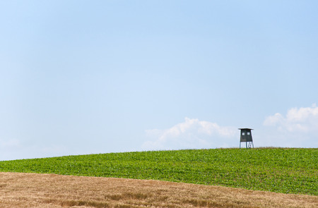 reclusion: hunting cabin in a rural landscape in Austria Stock Photo