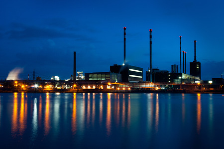 industrial area on the danube at twilight hour photo