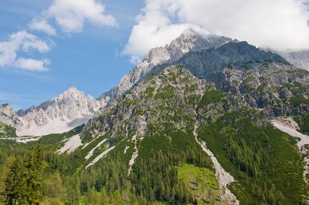 lofty: mountain top in the austrian alps  Bachlalm in Filzmoos Salzburg
