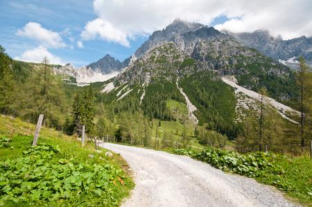 high alpine road  Bachlalm in Filzmoos Salzburg