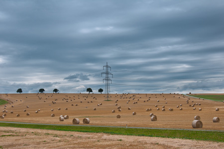 electrical tower: electrical tower between hay bales