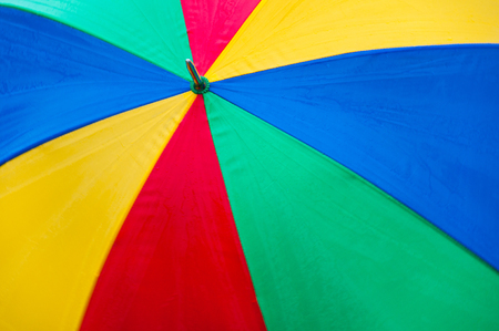 spanned: topside of a spanned rainbow colored umbrella