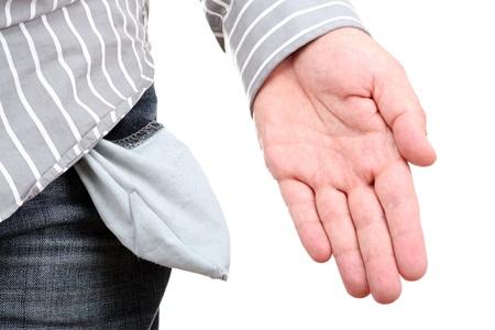 moneyless: Empty pocket and hand.