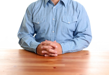 deliberation: Business Attitude. Business Man hands on Table in Conference Room