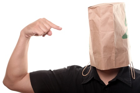 Men with Paper Bag over his Head photo