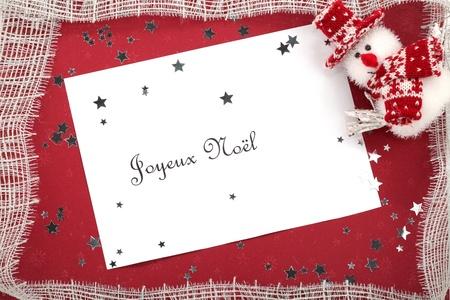 joyeux: Christmas card Joyeux Noel Stock Photo