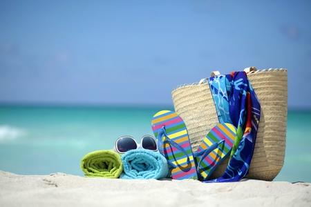 scarf beach: Accesorios de playa Foto de archivo