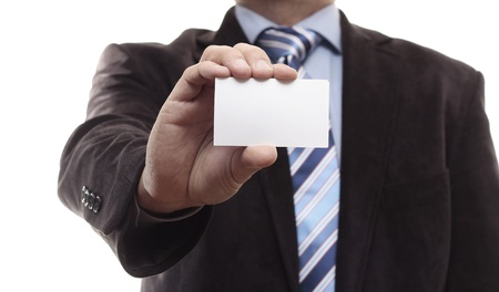 Businessman showing blank business card Stock Photo