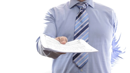 Businessman showing document Stock Photo