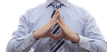 Businessman hands while taking decision