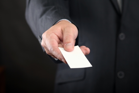 business card one hand
