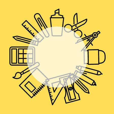 Vector design illustration of stationary set equipment.Stationary background illustration.Icon set of stationary.Good for background,cover and presentation Vettoriali