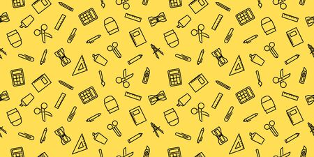 Vector design illustration of stationary set equipment seamless pattern background.Stationary background illustration.Icon set of stationary.Good for background,cover and presentation