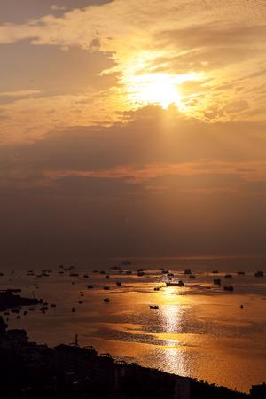Beautiful sunset scenery at beach Stock Photo
