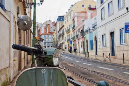 streetscene: Lisbon streetscene with a Vespa parked