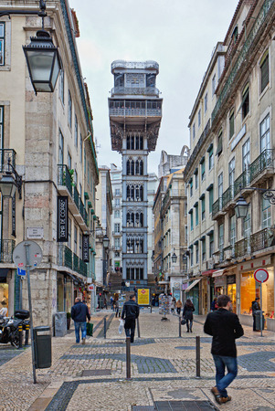 unusual angle: Lisbon famous elevador historical building Editorial
