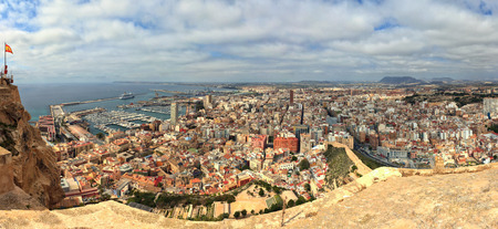 Stitched panorama of the city of Alicante, Spain, a popular coastal port and tourist destination