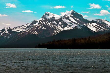 beautiful nature landscape of spirit island jasper national park stock image