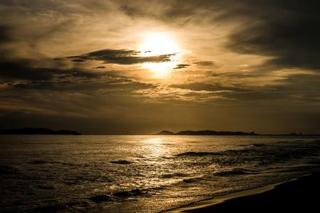 rayong: Beautiful sunset at Rayong beach Stock Photo