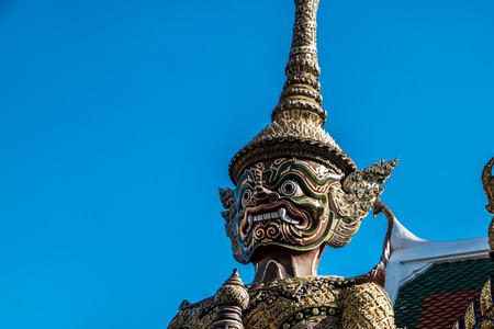 face guard: Close up giant guard face at Wat Pha Kaew Stock Photo