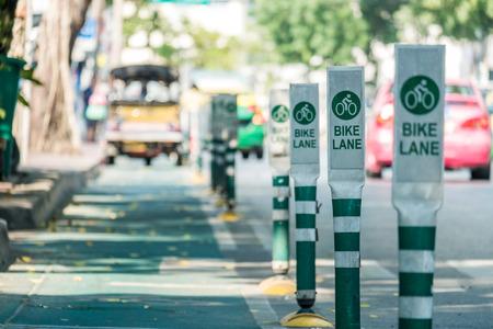 bike lane: Green bike lane at Bangkok