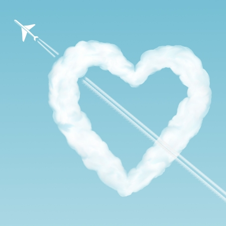 Sky love. Cloud-heart pierced by an airplane in the sky photo
