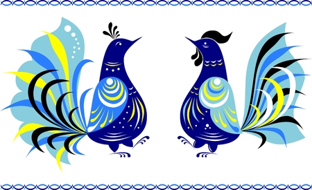 folk art: Two dancing fairy birds in the Gorodets painting style