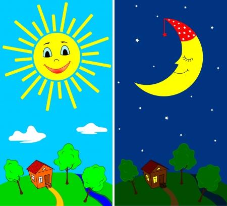 sonne mond und sterne: Blick auf die Landschaft in der Tages-und Nachtzeit mit der Sonne und der Mond in Cartoon-Stil
