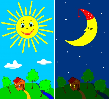 moon stars: Countryside view in the daytime and nighttime with the sun and the moon in cartoon style